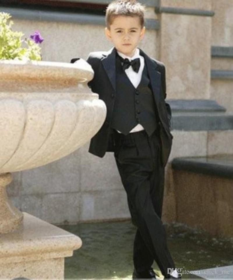 e7bb22714 Four Pieces Luxurious Black Ring Bearer Suits Cool Boys Tuxedo With ...