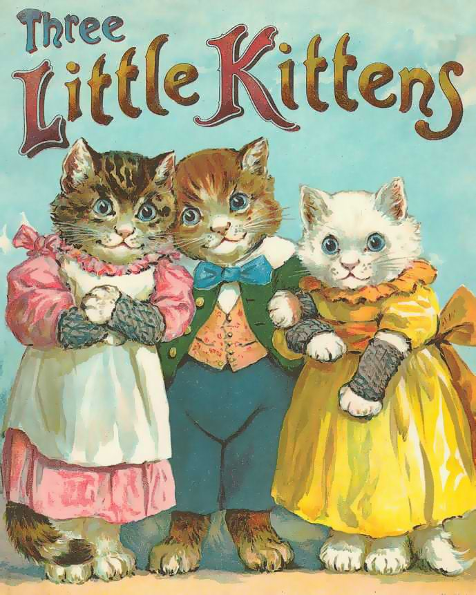 Vintage Cats Little Kittens Note They Are Wearing Fingerless