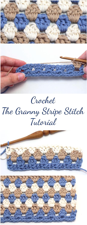 Crochet The Granny Stripe Stitch Tutorial + Free Video | Ganchillo ...