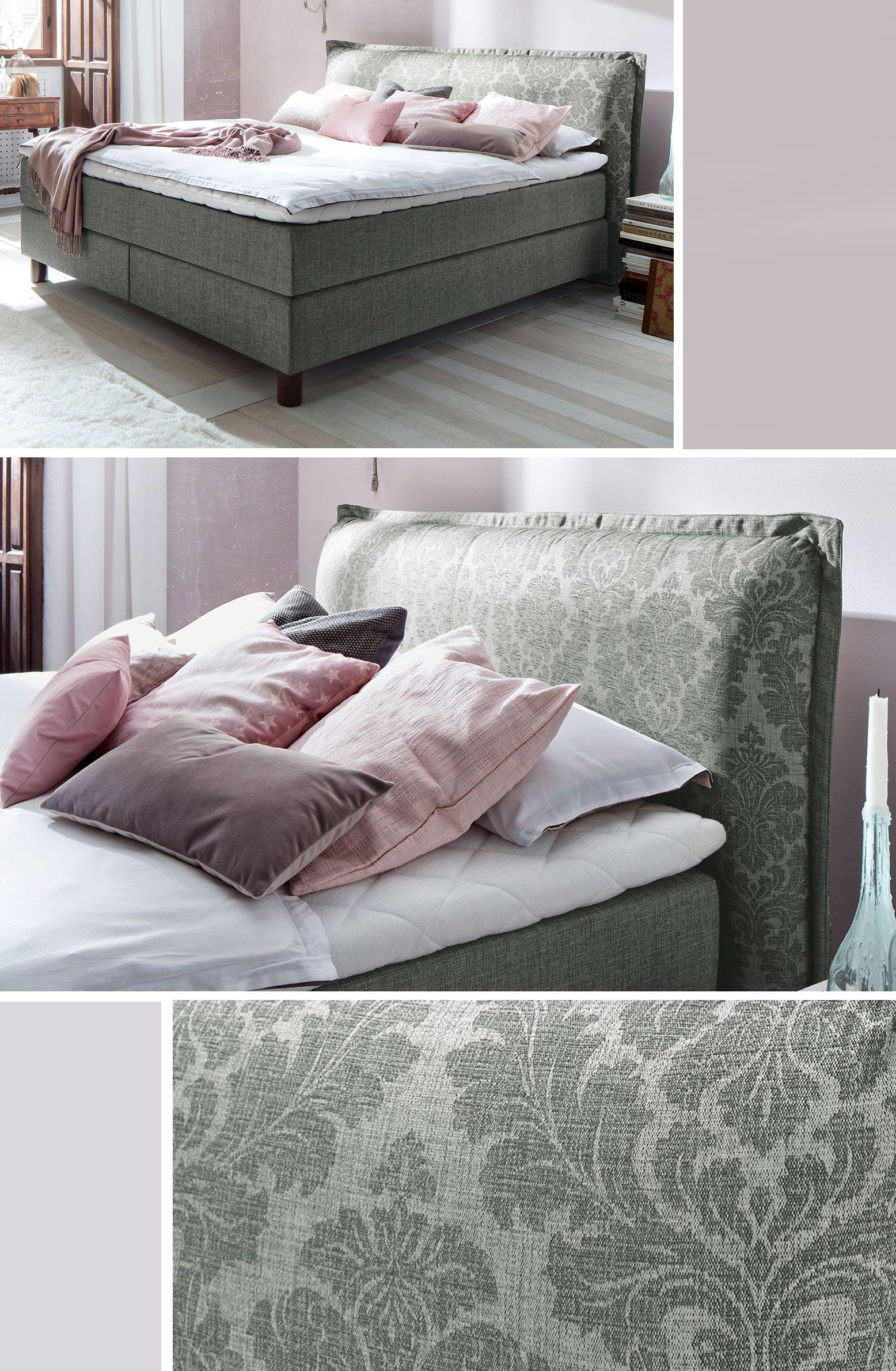royales boxspringbett mit tollem kopfteil f nf. Black Bedroom Furniture Sets. Home Design Ideas