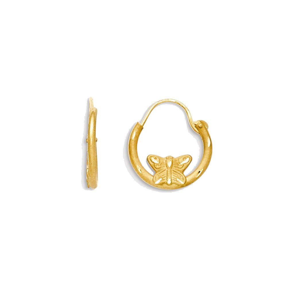 Child'S 14k Yellow Gold Butterfly Childrens Huggie Earrings