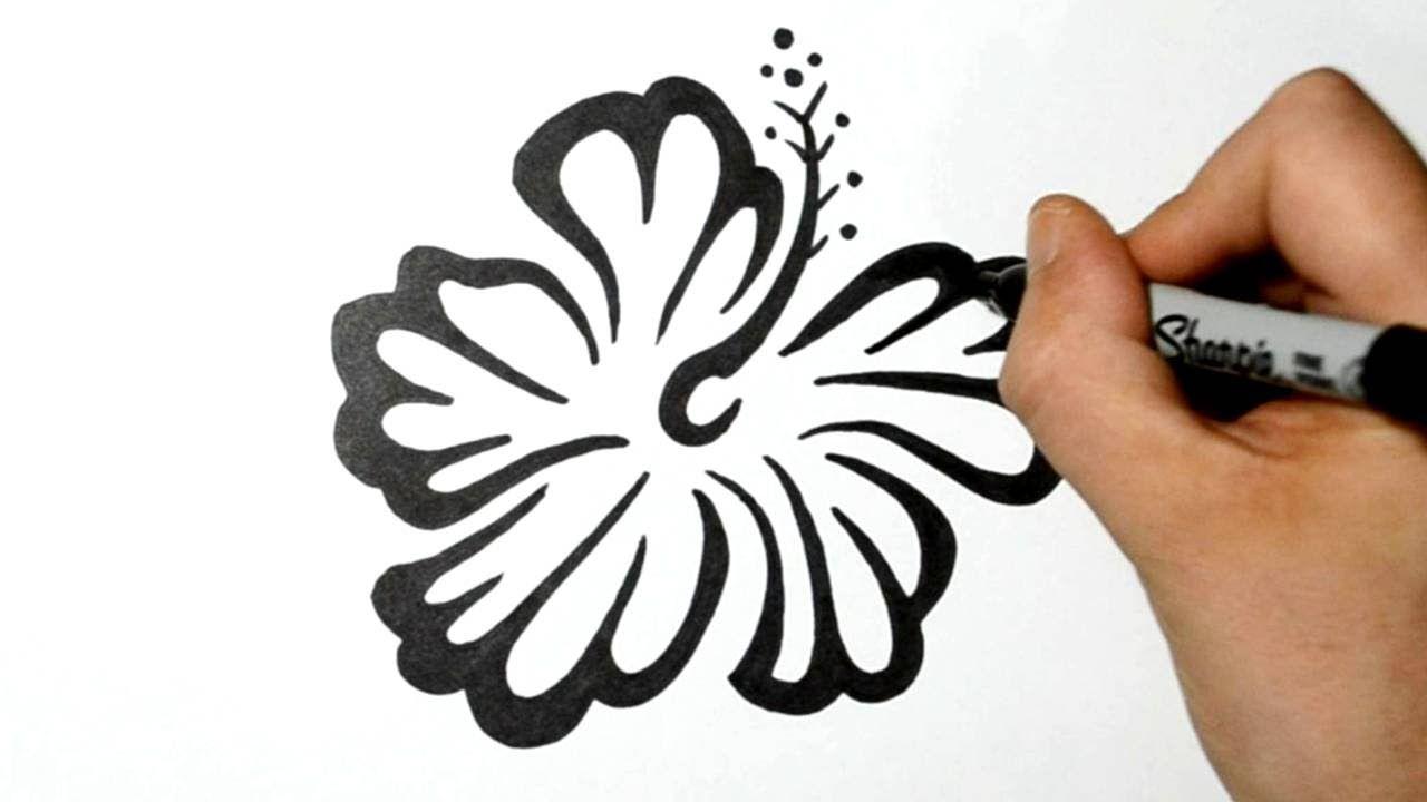 how to draw an hawaiian flower tribal design