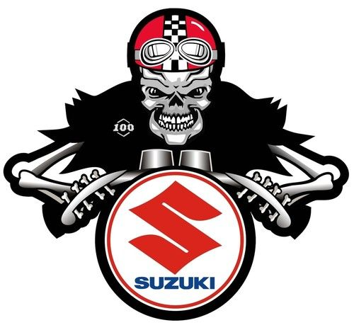 Suzuki dem bones cafe racer motorcycle sticker