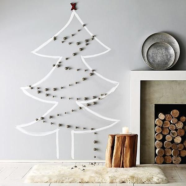 40 Diy Alternative Christmas Trees Adding Fun Wall Decorations To Green Holiday Decor Wall Christmas Tree Cool Christmas Trees Alternative Christmas Tree