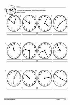 teach your kids to tell time to the nearest 5 with these handy worksheets a school telling. Black Bedroom Furniture Sets. Home Design Ideas