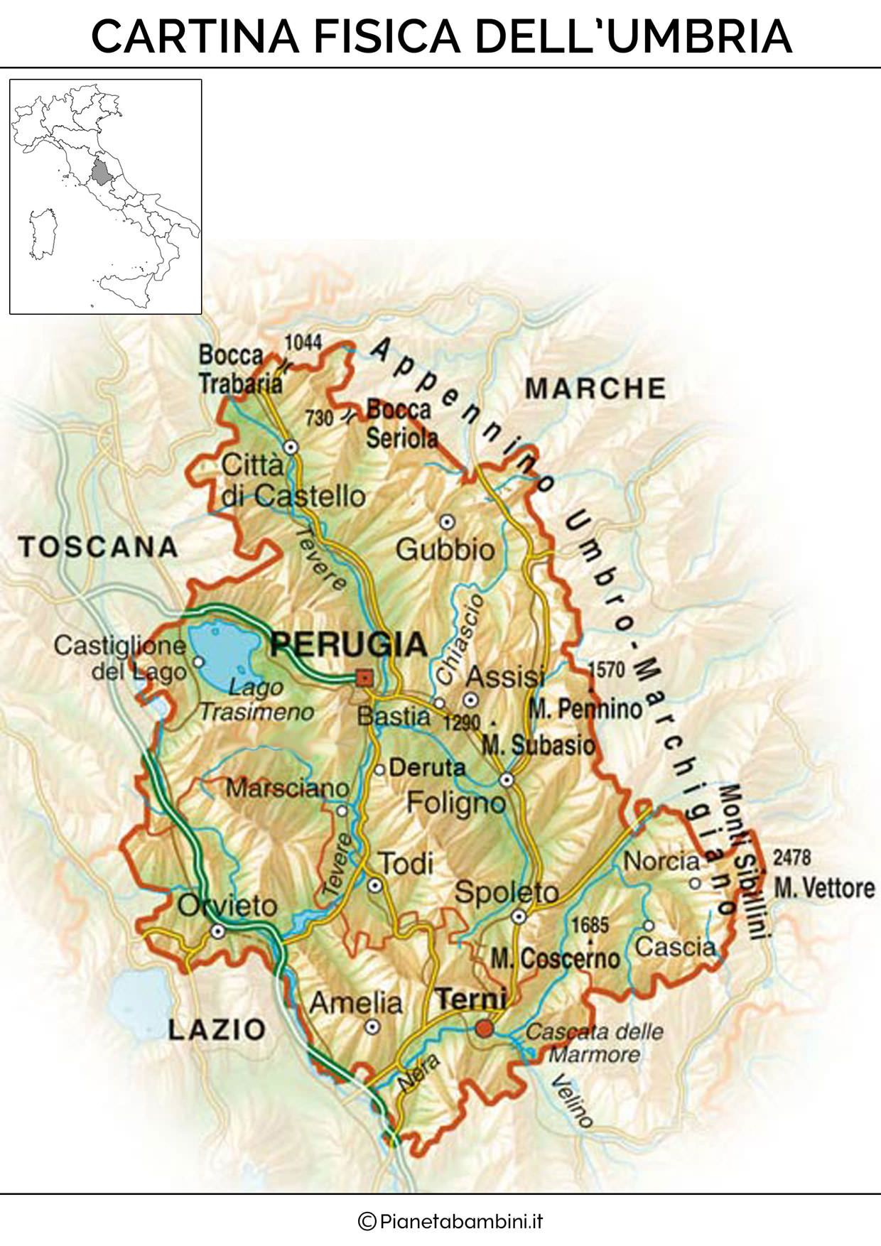 Cartina Stradale Toscana Umbria.Cartina Muta Fisica E Politica Dell Umbria Da Stampare Mappe Illustrate Umbria Mappe