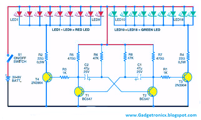 led christmas lights using transistors gadgets led christmasled christmas lights circuit using transistor as astable multivibrator mode of operation christmas star lighting circuit using led , circuit led lights