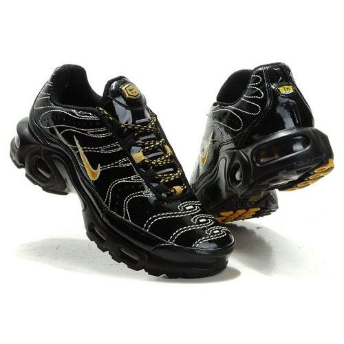Unique Nike Air Max TN Black/Metallic Gold Patent Leather Women Shoes For  US$55.20