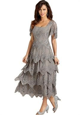 cd9eb1baa76 Plus Size Beaded Tiered Empire Waist Gown from Roaman s
