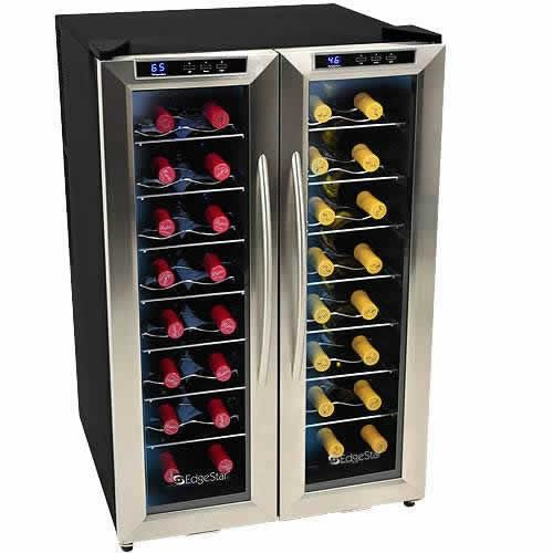 EdgeStar 32 Bottle Dual Zone Stainless Steel Wine Cooler w