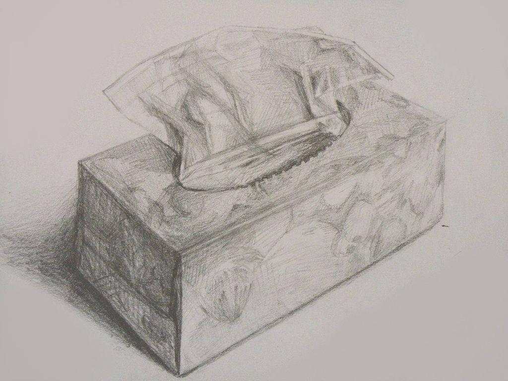 how to draw a tissue box
