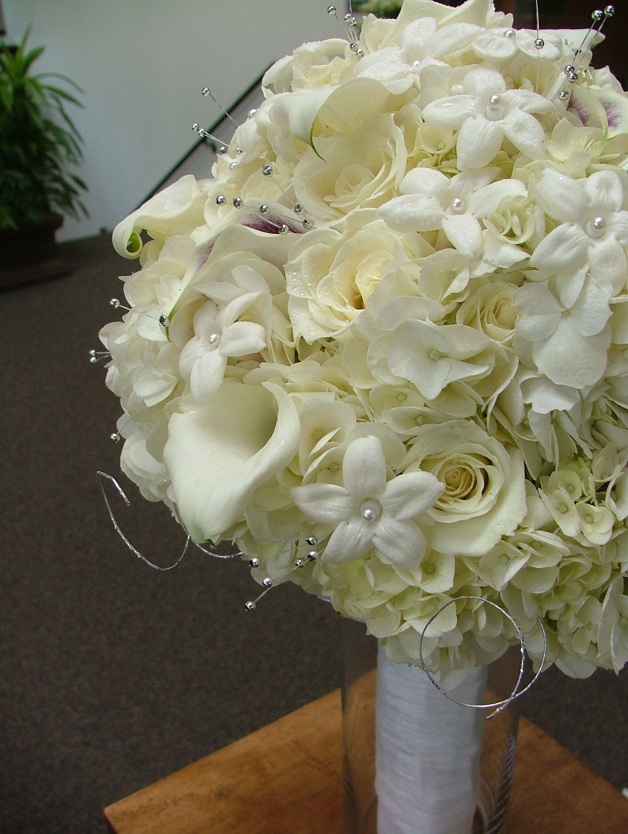 White Wedding Flowers In July On Filewhite Assorted Flowers Bride