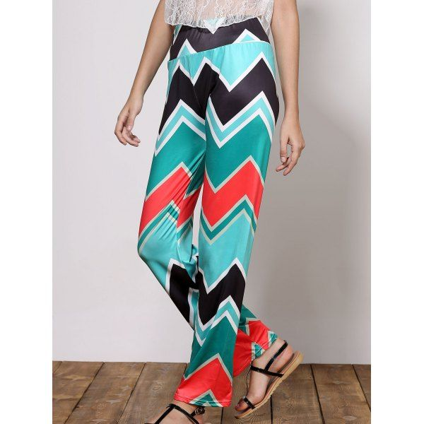Stylish Mid-Waisted Loose-Fitting Wave Print Women's Exumas Pants — 15.88 € Size: S Color: GREEN
