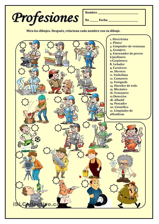 Profesiones Recursos De Ensenanza De Espanol Aula De Espanol Actividades De Espanol