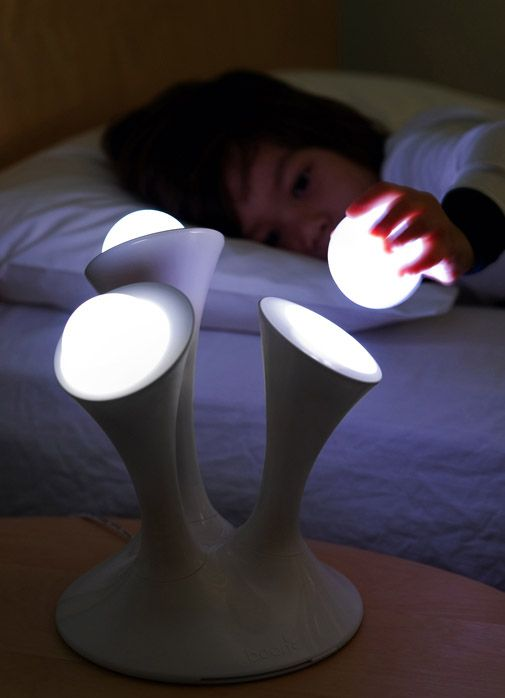 Boon Glo LED nightlight - Color changing nightlight with portable glowing balls. Glo balls are removable and because there is nothing electric they don't get warm or break. Kids can even hold them as they fall asleep since the glow fades to dark after 30 minutes.
