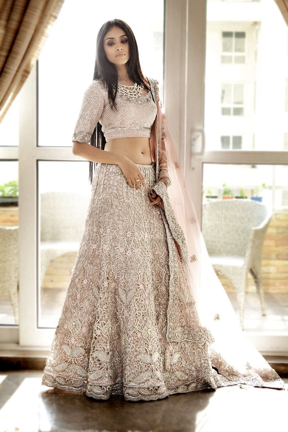 5f408192b5 Stunning white beaded and jeweled Indian wedding gown. | Indian ...
