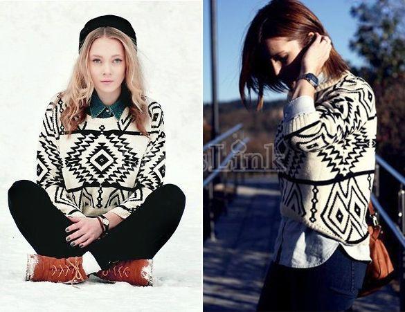 58842b9ada Women Loose Sweater Geometry Design Printed Long Sleeve Pullovers Big  Size-cheap!