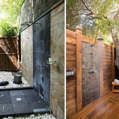 Impresionantes duchas en el jard n ducha jard n terraza for Diseno de fuente de jardin al aire libre