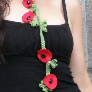 Kashmira Wool Scarf - Felt Flower - Red Poppy Scarflette by akaCINDERS