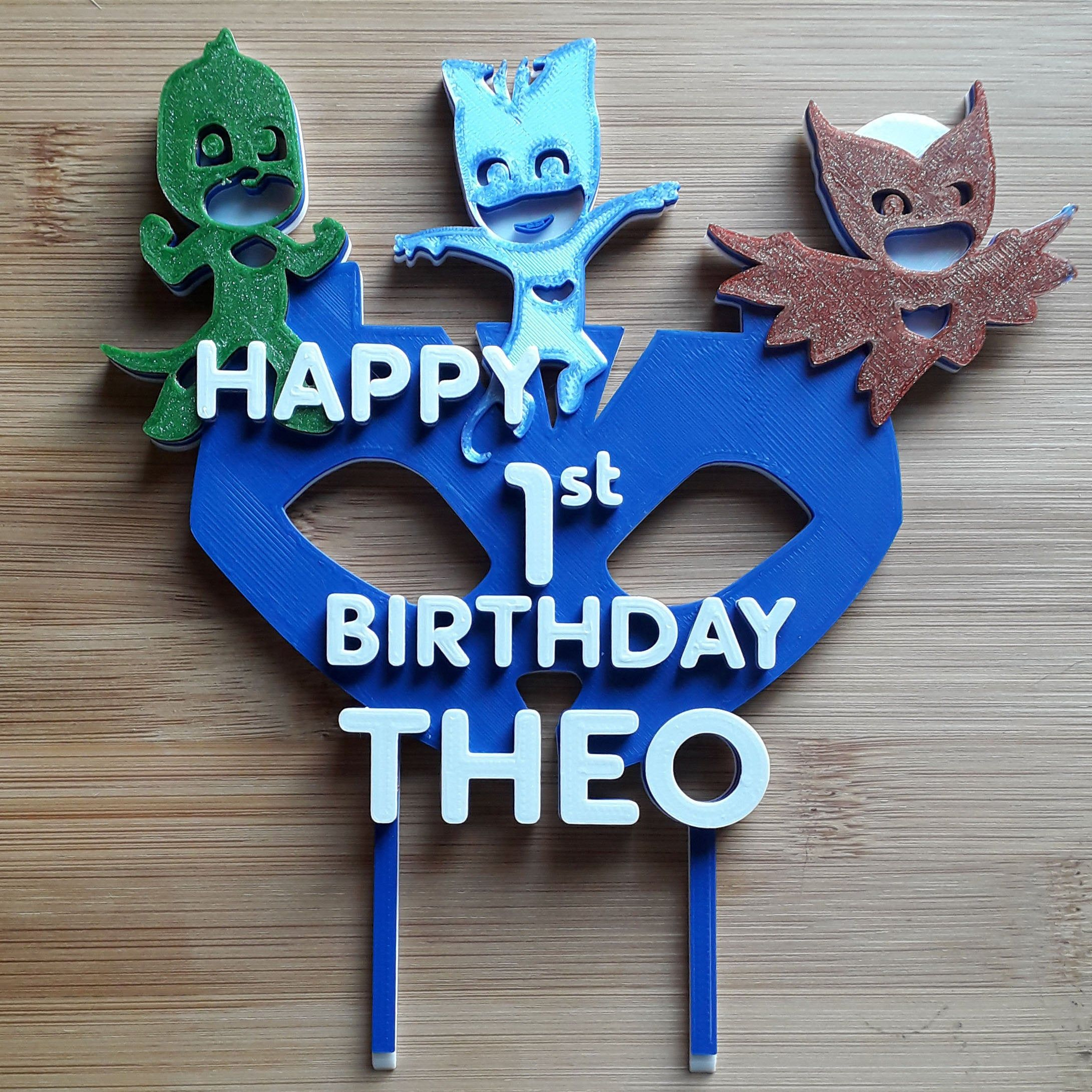 pj mask birthday cake toppers