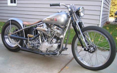 Photograph of 1955 Harley FL Panhead Bobber Motorbike by Luke.