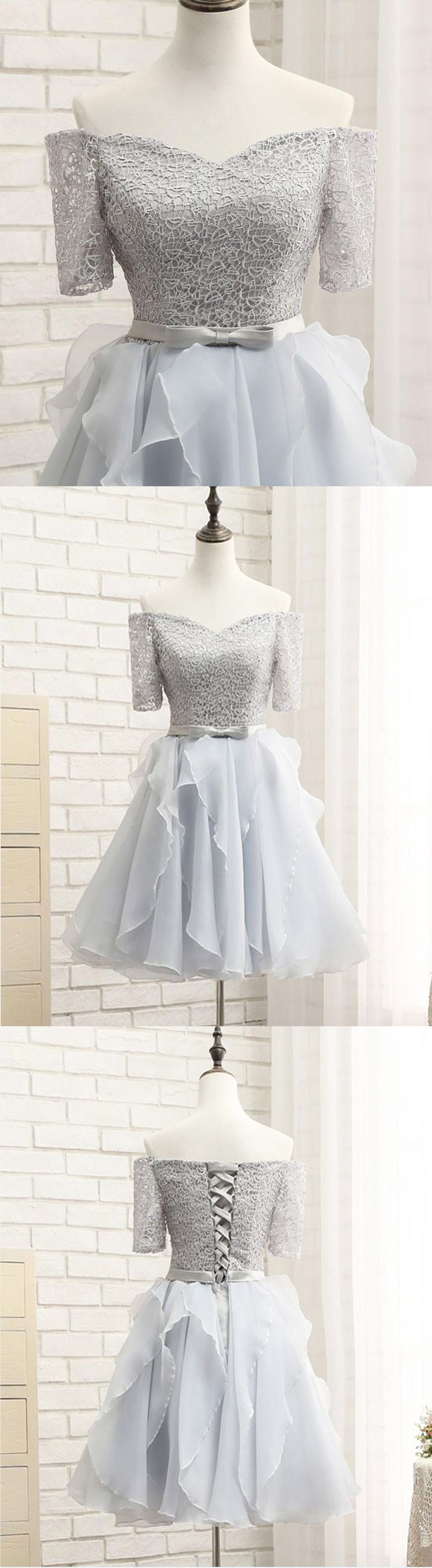 new design gray tulle prom dress mid sleeve party dress short