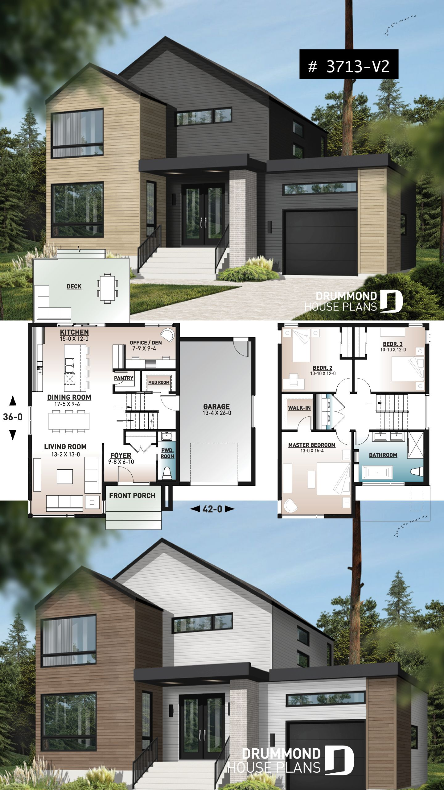 Discover The Plan 3713 V2 Sequoia 3 Which Will Please You For Its 3 Bedrooms And For Its Scandinavian Styles In 2020 Sims House Plans House Layout Plans Sims House Design