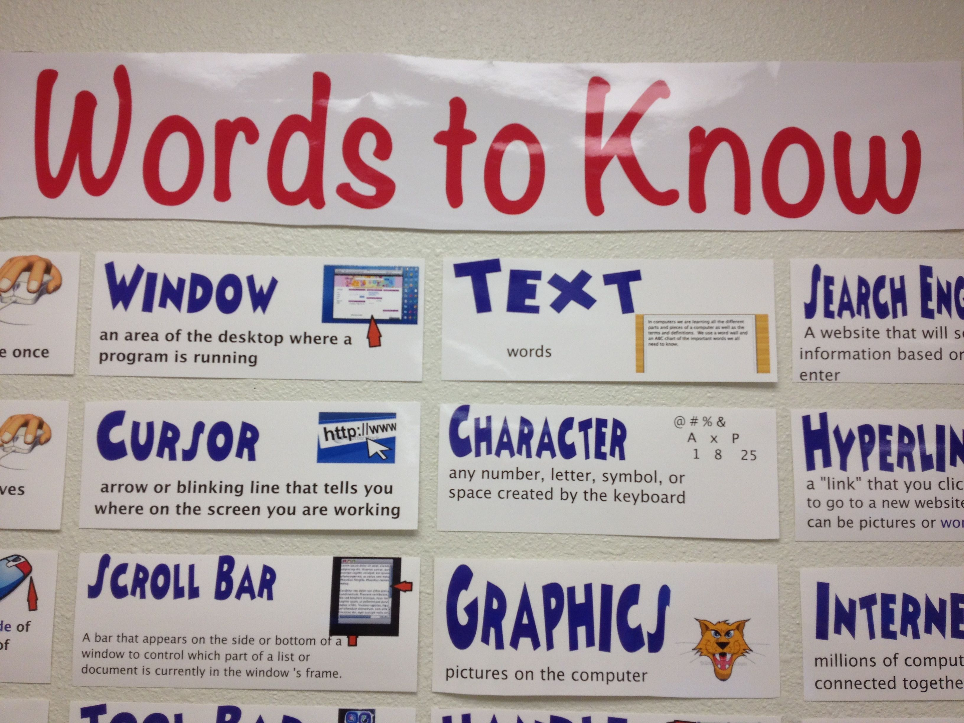Computer classroom decor lab posters also tech words to know library pinterest rh