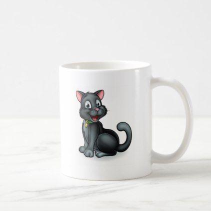 Black Cat Cartoon Character Coffee Mug