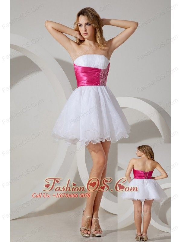 White A-line / Princess Strapless Beading Short Prom / Homecoming Dress Mini -length