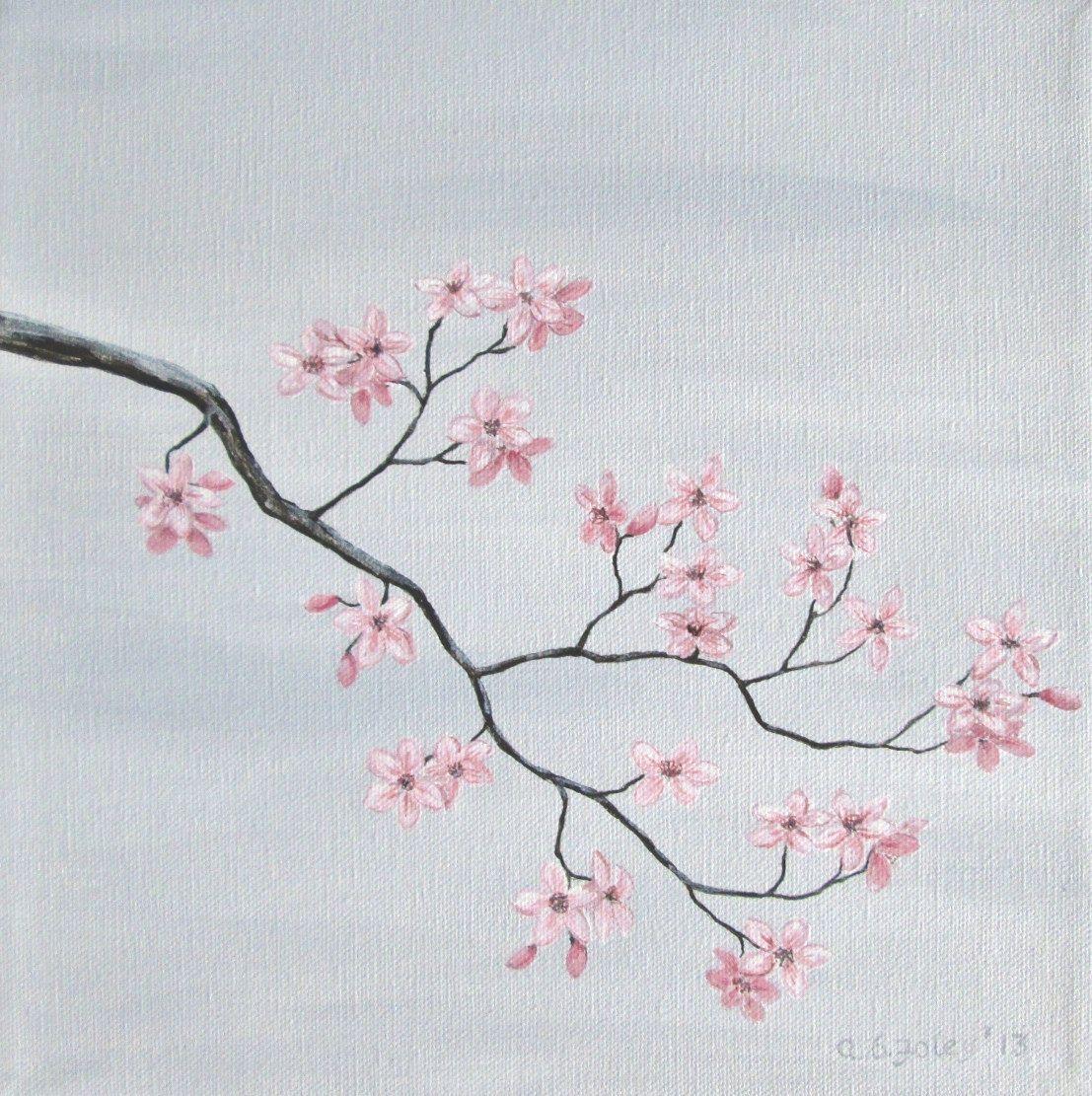 Cherry Blossom Painting Pink Cherry Blossoms Original Fine Etsy Cherry Blossom Painting Blossoms Art Original Fine Art