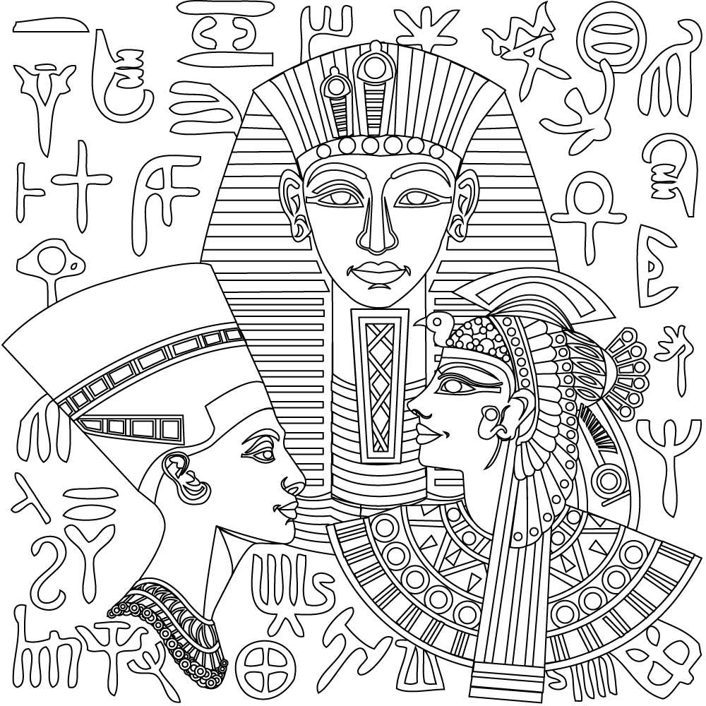 New Egyptian Coloring Pages From Stress Relief Adult Coloring App