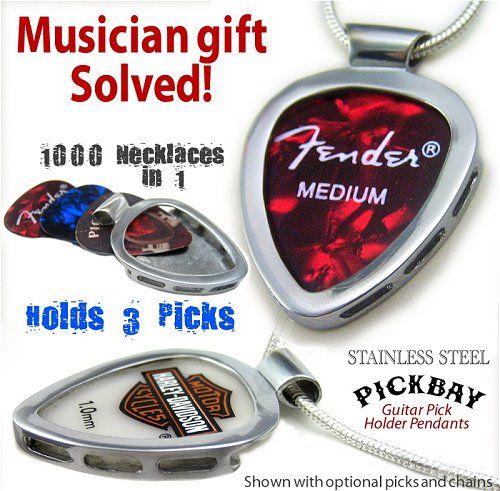 Pickbay guitar pick holder pendant a the Best gift for him & her! www.pickbay.com #pickbay #musiciangift #picknecklace #stainlesssteelguitarpickholdet #silverguitarpickholder