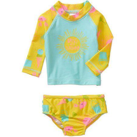 2e6a717cf5 Child Of Mine Rash Guard Set, Yellow. Child of Mine by Carter's Baby  Toddler Girl Rash Guard Swim 2-Piece ...