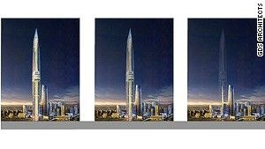 """Invisible Tower"" proposed for South Korea.  How the building will appear when the LED facade system isn\'t activated; then lit with 30% power; on the far right, 100% power.  And they're going to build it near the airport."