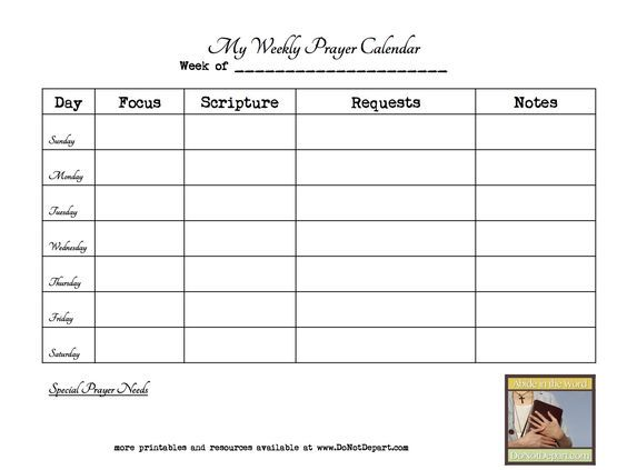 Weekly Prayer Calendar Template  Google Search  Faith  Fun