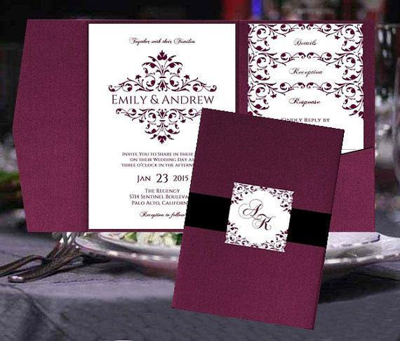 Sangria Wedding Invitations: Pocket Fold Wedding Invitation Templates Merlot Burgundy
