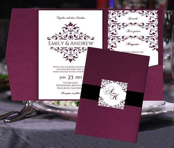 Pocket Fold Wedding Invitation Templates Merlot Burgundy Wine Maroon