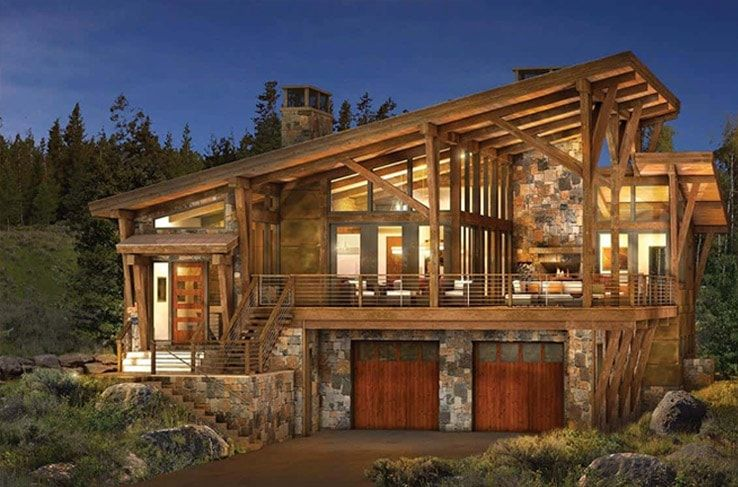modern log and timber floor plan - Contemporary Rustic Homes