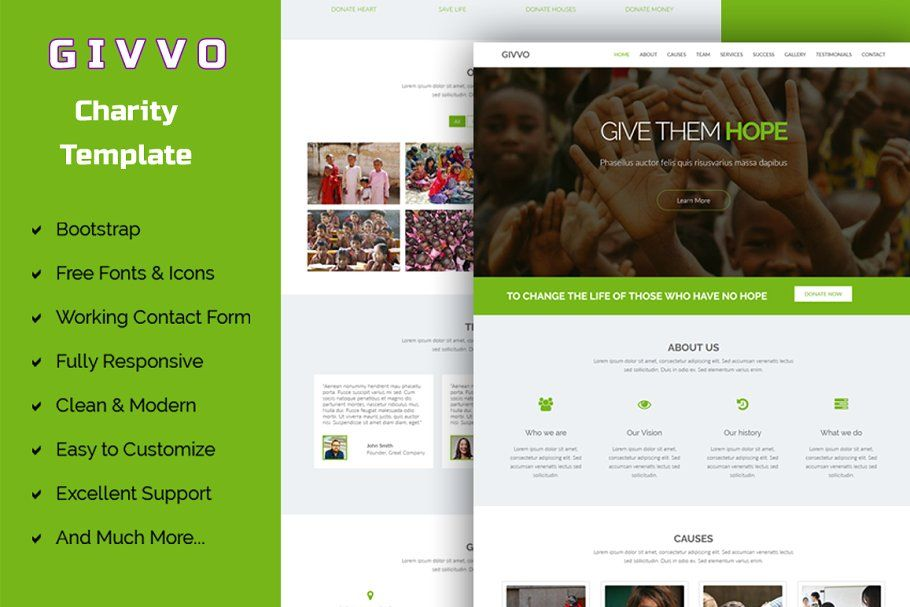 Givvo Charity Website Template Website Template Website Template Design Interior Design Template