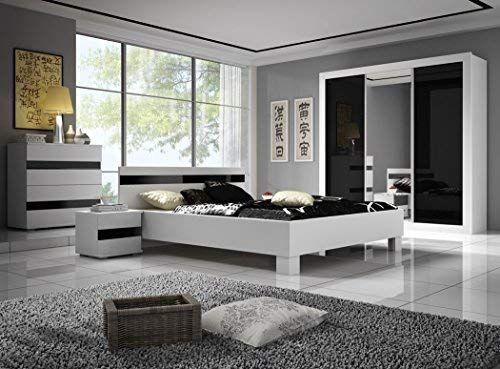 Chambre à coucher complète LUCCA design laqué brillant noir et blanc