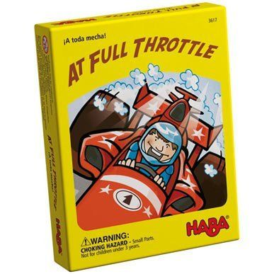 Haba Full Throttle Card Game by HABA. $8.99. Age: 5-99. Measurements: packaging 4 x 5 x 1 inches. Weight: 0.4 lbs. Materials: cardboard. HABA 3617 - To the track, get set and go! The course leads from red to blue, from yellow to green. Who will take the lead and snatch the right car in the end? A breathtaking card game for 2 - 4 players. Includes variation for expert racers. - 3617 Recommended for ages 5 - 99. Made in Germany.