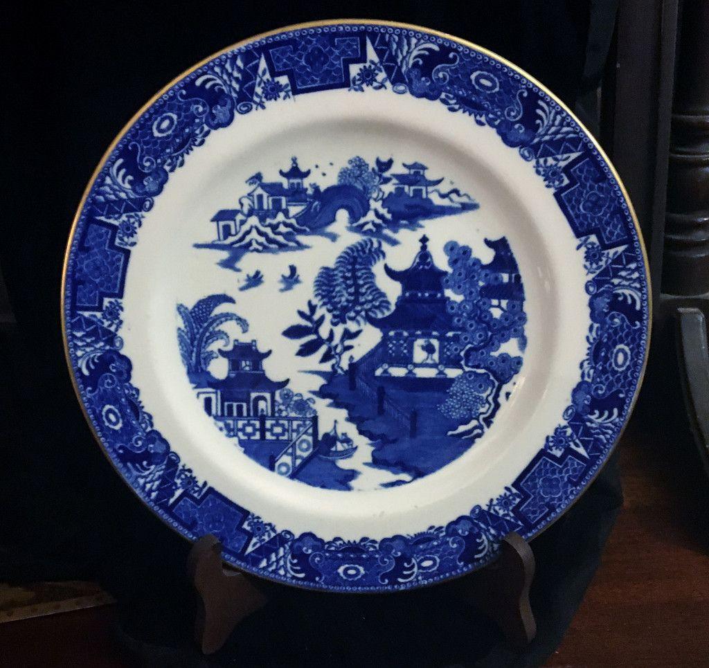 c1891 Rare Antique Cobalt Blue Willow Royal Worcester