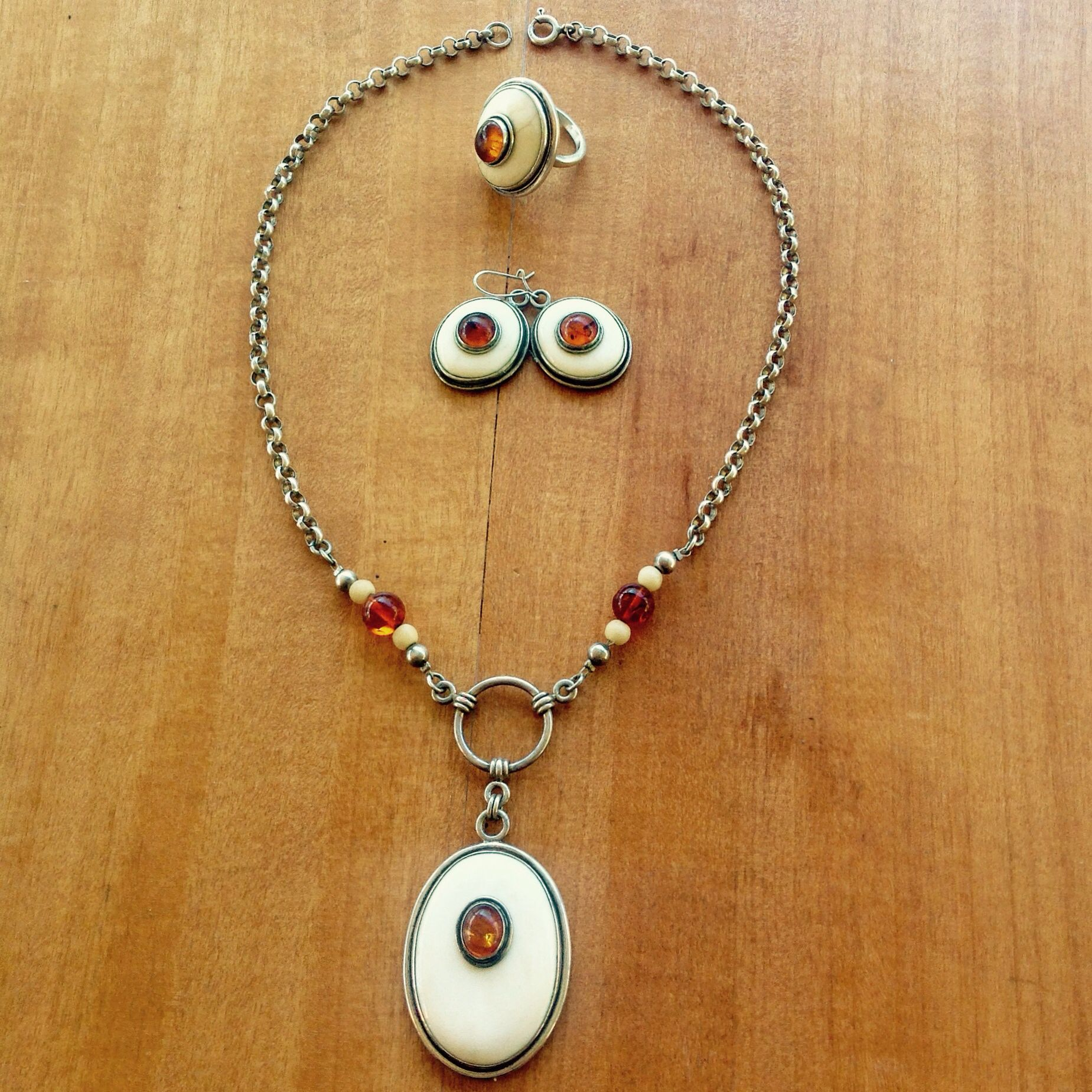 Silver, bone and amber necklace with matching ring and earrings. By Gecko Skin Jewellery.