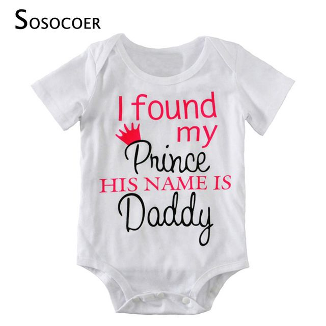 Check it on our site SOSOCOER Baby Girls Rompers 2017 New Summer Cute Letter Newborn Jumpsuit Romper I Found My Prince His Name Is Daddy Baby Clothes just only $5.54 - 5.93 with free shipping worldwide  #babyboysclothing Plese click on picture to see our special price for you