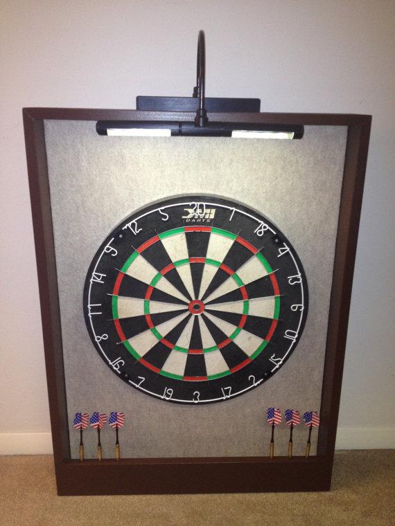 LED LIGHTED Sandstone Felt U0026 Brown Trim Dart Board Backboard Surround Dartboard  Cabinet W/DMI Staple Free Sisal Fiber Bristle Dartboard On Etsy, $u2026