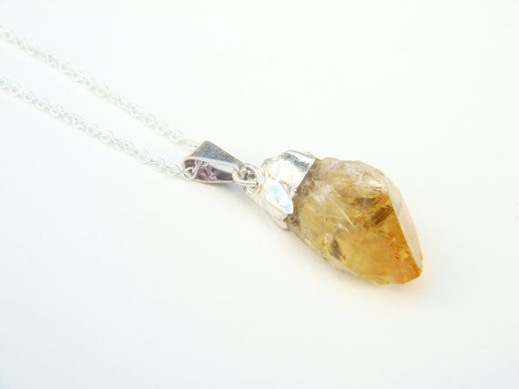 Citrine Crystal Point Necklace, Crystal Quartz Necklace, Clear Quartz necklace, Silver dipped Point necklace on Etsy, $26.00