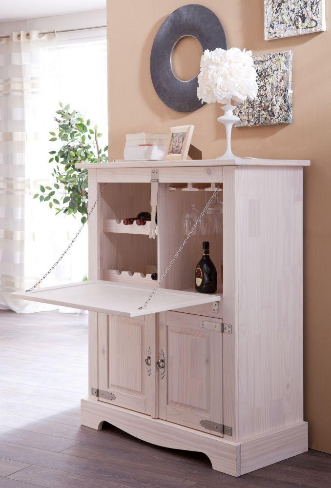 Magnolia Barschrank Kiefer massiv weiß lasiert #esszimmer - esszimmer im wohnzimmer