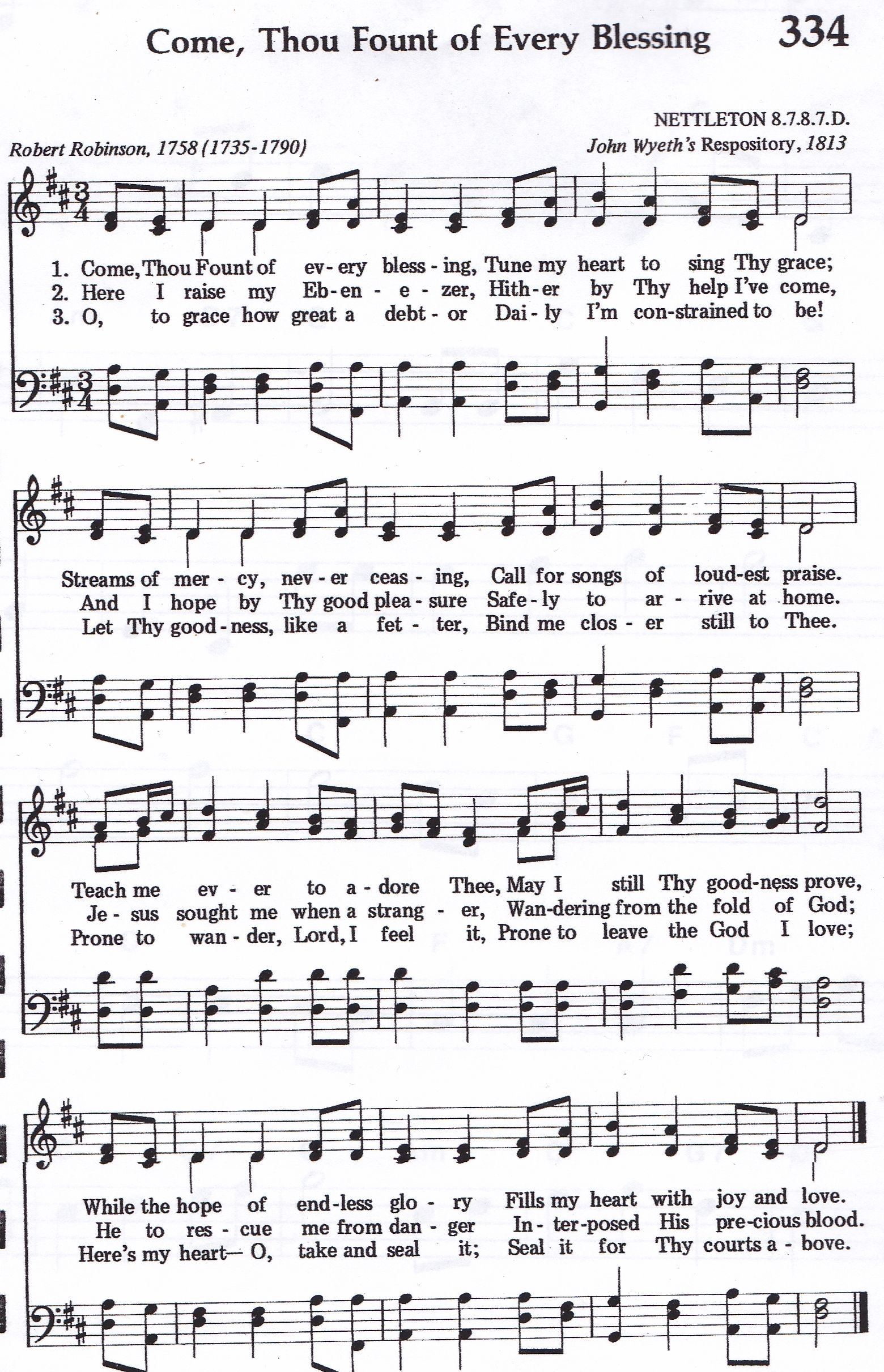 Come Thou Fount Of Every Blessing Hymn Satb Hymns Lyrics Come