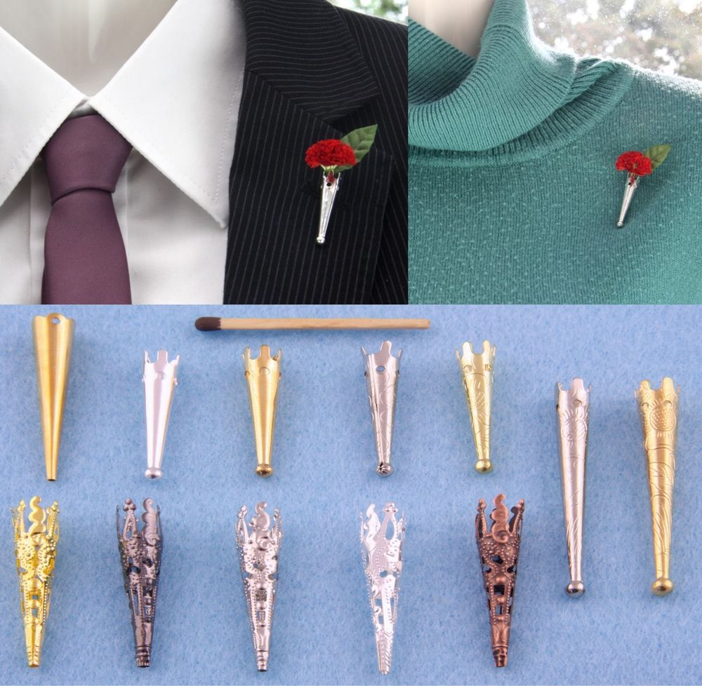 "Small Posy Pin /""Poirot/"" Brooch//Lapel Pin Vase for Corsage*Buttonhole*Boutonniere"